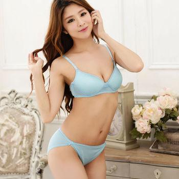 賽凡絲百分百蠶絲無鋼圈舒適內衣褲套組-水藍