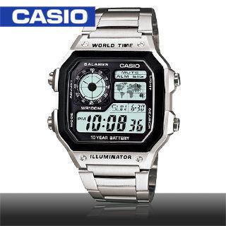 【CASIO 卡西歐】方形世界時間地圖不鏽鋼中性錶(AE-1200WHD)