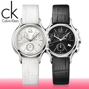 【瑞士 CK手錶 Calvin Klein】三眼造型皮革女錶(K2U291C1-K2U291L6)