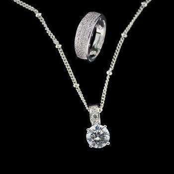 xmono】開運彩寶系列項鍊戒指套組(八心八箭方晶鋯石)