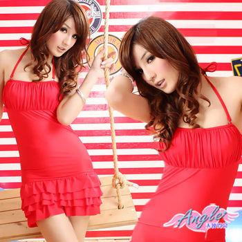【天使霓裳】可人甜美 連身繞頸鋼圈泳衣(紅)-RY12306