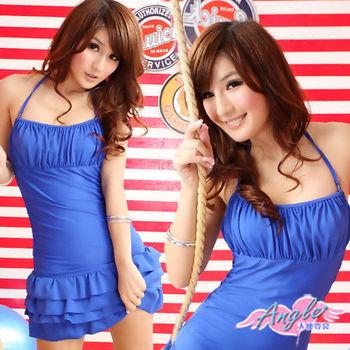 【天使霓裳】可人甜美 連身繞頸鋼圈泳衣(藍)-RY12306