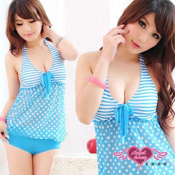 【天使霓裳】夏日心機 一件式連身泳裝 比基尼泳衣(淺藍)-QD13211