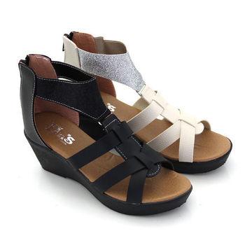 【Pretty】簡約金蔥拼接羅馬厚底涼鞋-黑色、米色