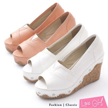 ☆Love Girl☆清新微甜感-素面皮雕花滾邊楔型魚口涼鞋