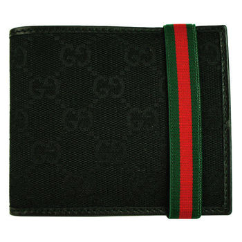 GUCCI 紅綠織布繞帶兩折短夾(黑)