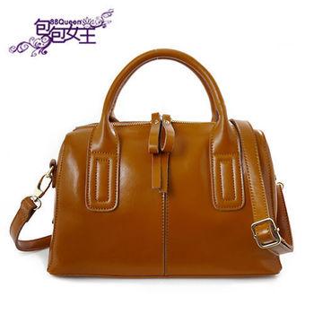 【88Queen❤包包女王】真皮★時尚馬卡龍雙拉鏈波士頓包