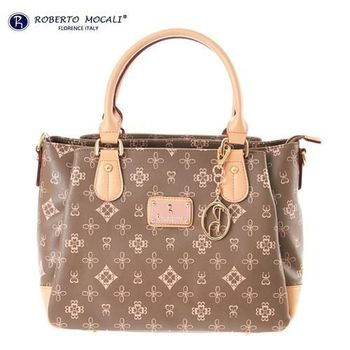【Roberto Mocali 諾貝兔】自然森林茉綠花紋三隔層手提包