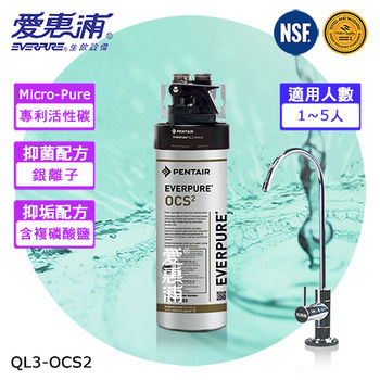 愛惠浦EVERPURE 精緻抑垢型淨水器(含濾心) QL3-OCS2
