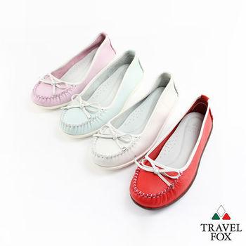 Travel Fox(女)Soft跳色描邊莫卡辛娃娃鞋 - 白邊白