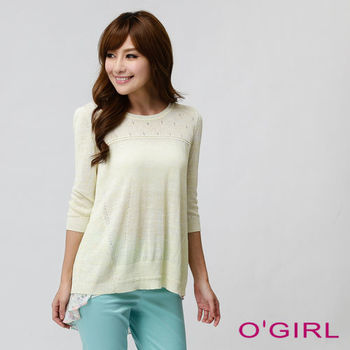 OGIRL粉系花朵長版針織上衣(淺黃)
