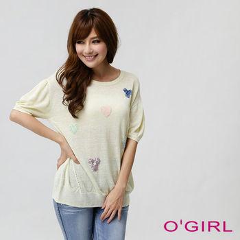 OGIRL粉系長版針織上衣(淺黃)