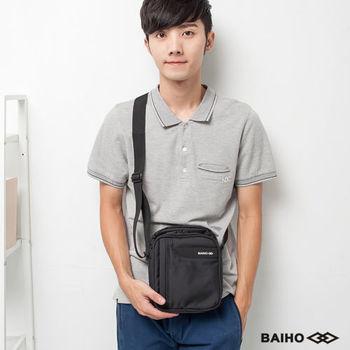【BAIHO 百虹】拉鍊直式側肩背包(個性黑)
