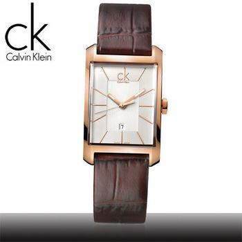 【瑞士 CK手錶 Calvin Klein】時尚流行-方型直紋玫瑰金女腕錶(K2M23620)