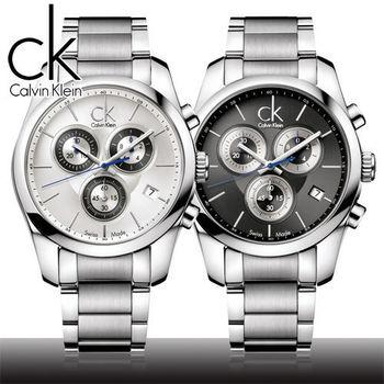 【瑞士 CK手錶 Calvin Klein】黑款三眼計時石英男錶(K0K27107/K0K27120)