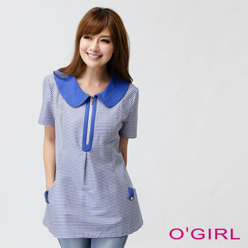 OGIRL帥氣細條紋口袋上衣(寶藍)