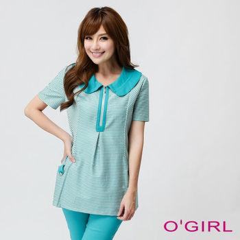 OGIRL帥氣細條紋口袋上衣(藍綠)
