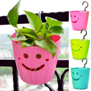 馬卡龍微笑吊籃 掛藍 掛壁式盆栽-3入
