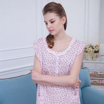 【MFN蜜芬儂】MIT-(加大XL)無袖繽紛巧花透氣純棉居家洋裝(2色)