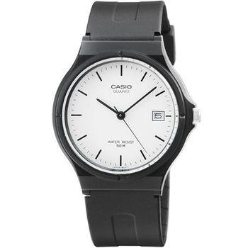 CASIO 卡西歐薄型日誌石英錶-白 / MW-59-7E (原廠公司貨)