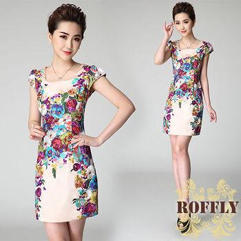 【ROFFLY蘿芙莉】預購-優雅淑女牡丹花刺繡修身短袖洋裝 (BQ1118)
