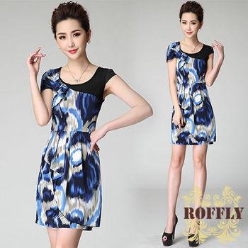 【ROFFLY蘿芙莉】預購-彈性牛奶絲迷彩幾何數碼印花洋裝(BQ13148)