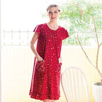 【皮爾卡登】紅色花花居家洋裝