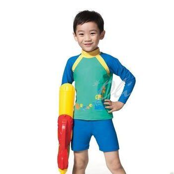 【蘋果品牌】台灣製男童兩件式長袖泳裝NO.15207(現貨+預購)