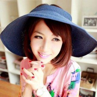 【轉行賣絲巾】防曬捲捲帽 半頂遮陽帽 便利收納草帽(深藍03-4)