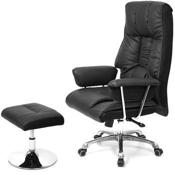 aaronation 愛倫國度-真牛皮雙扶手辦公電腦椅 (i-2901SGA+2901腳墊)