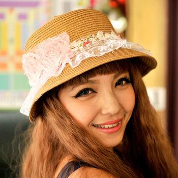 太妃糖 夢幻粉紅玫瑰遮陽帽(棕)