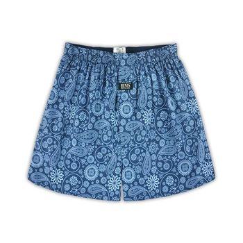 【HENIS】舒適純棉型男五片式定織印花平口褲-6件組/隨機取色