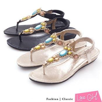 ☆Love Girl☆華麗寶石小坡跟夾腳涼鞋