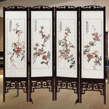 【時尚屋】[2T5]中國風國畫彩色花鳥雙面屏風612