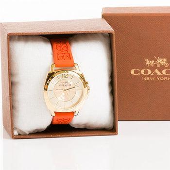 COACH BOYFRIEND 34mm 玩色嘉年華休閒腕錶 橘色