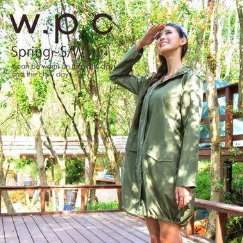 【w.p.c.】束口綁繩款。時尚雨衣/風衣(R1003)-橄欖綠