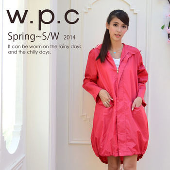 【w.p.c.】束口綁繩款。時尚雨衣/風衣(R1003)-桃紅