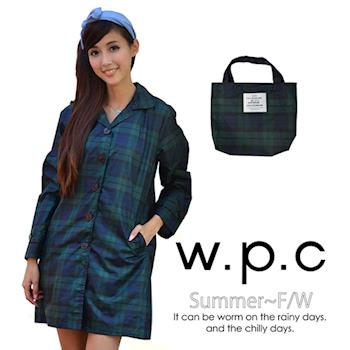 【w.p.c.】色織格紋扣子款。時尚雨衣/風衣(R1009)_綠格