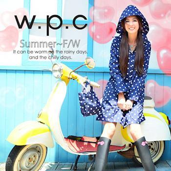 【w.p.c.】顯瘦修長款。時尚雨衣/風衣(R1005)-藍點點