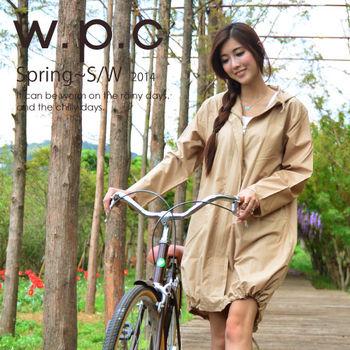 【w.p.c.】束口綁繩款。時尚雨衣/風衣(R1003)-卡其