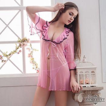 大尺碼Annabery粉色透視甜美柔紗二件式罩衫丁褲組