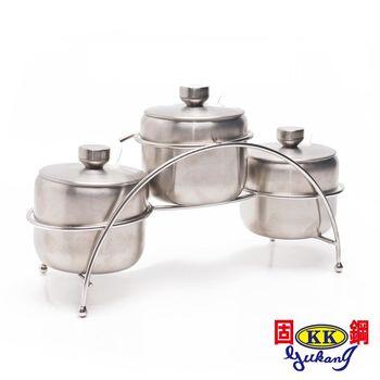 【固鋼】304不鏽鋼調味罐300ML三罐組