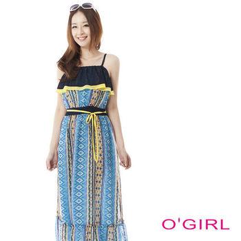 OGIRL圖騰印花細肩帶度假風長洋裝(藍黃花)