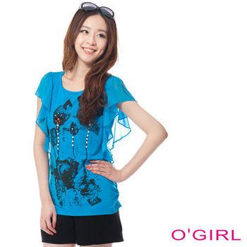 OGIRL雪紡荷葉袖印花針織上衣(藍)