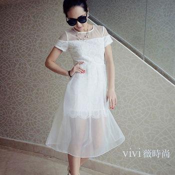 vivi薇時尚~公主風歐根紗蕾絲修身A字連身裙(3尺寸可選)
