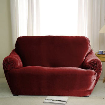 【格藍傢飾】璀璨晶絨彈性沙發便利套(1+2+3人座)-紅