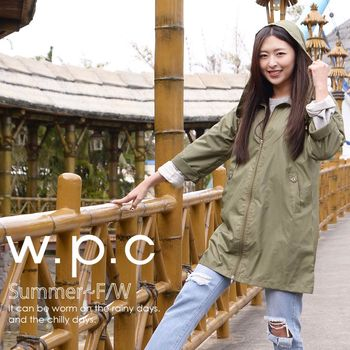 【w.p.c.】2 way袖子可折。時尚雨衣/風衣(R9001)-橄欖綠