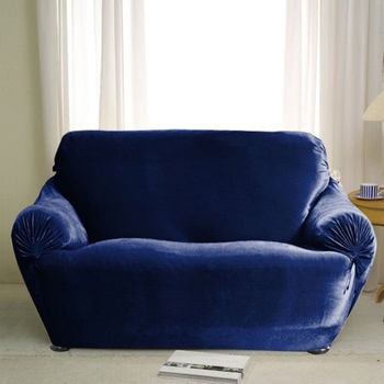 【格藍傢飾】璀璨晶絨彈性沙發便利套(1+2+3人座)-藍