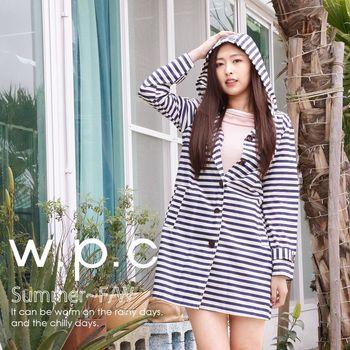 【w.p.c.】條紋釦子款。時尚雨衣/風衣(R1028)_藍白條紋