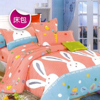 【R.Q.POLO】快樂兔 絲棉柔-雙人標準三件式床包組(5尺)